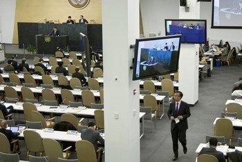 Une vue partielle de la salle temporaire de l'Assemblée générale des Nations Unies.