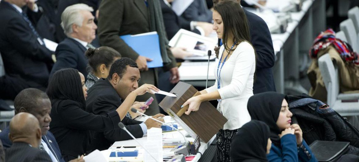 Voting takes place in the General Assembly to elect 14 members of Human Rights Council.