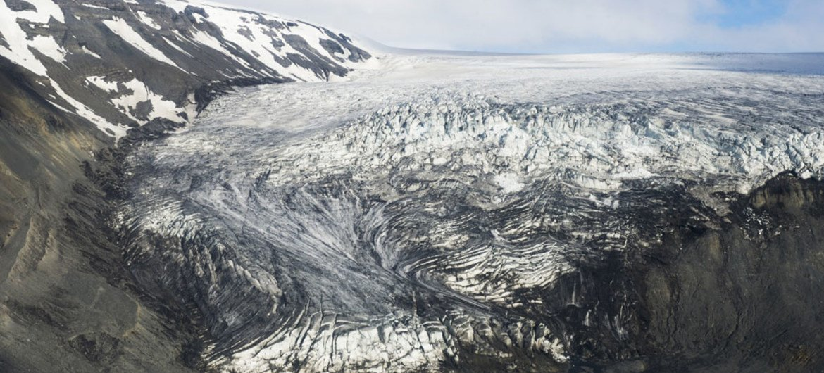 A view of the Langjökull glacier in Iceland, taken in July 2013, which has retreated considerably in the last few decades due to warmer temperatures.