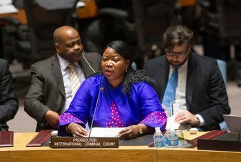 Fatou Bensouda, Prosecutor of the International Criminal Court (ICC), addresses the Security Council meeting on the situation in Libya.