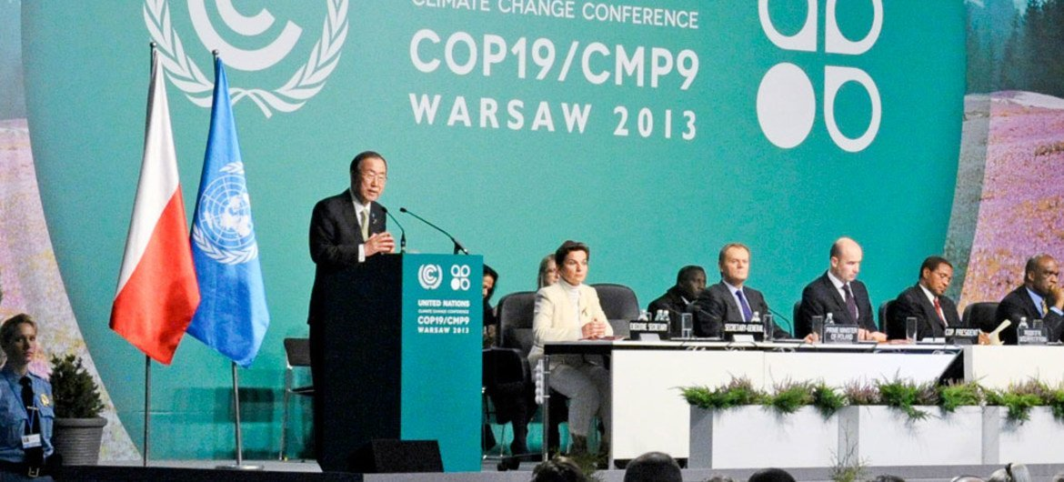 Secretary-General Ban Ki-moon addresses the UN climate change conference in Warsaw.