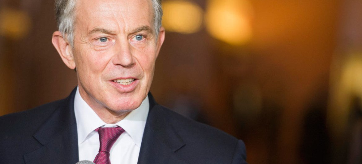 Former British Prime Minister Tony Blair speaks to reporters.