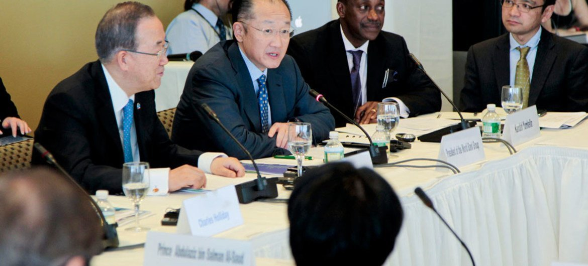 Secretary-General Ban Ki-moon (left) and World Bank President Jim Yong Kim at the meeting of the Sustainable Energy for All High-Level Advisory Board.