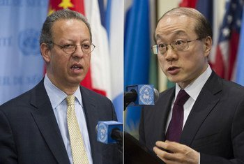 Special Adviser on Yemen Jamal Benomar (left) and Council President, Ambassador Liu Jieyi of China, brief the press.