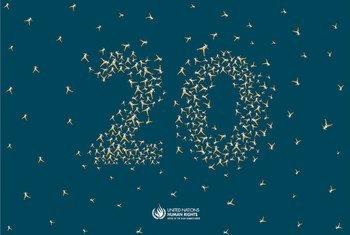 Affiche des 20 ans du Haut-Commissariat des Nations Unies pour les droits de l'homme.