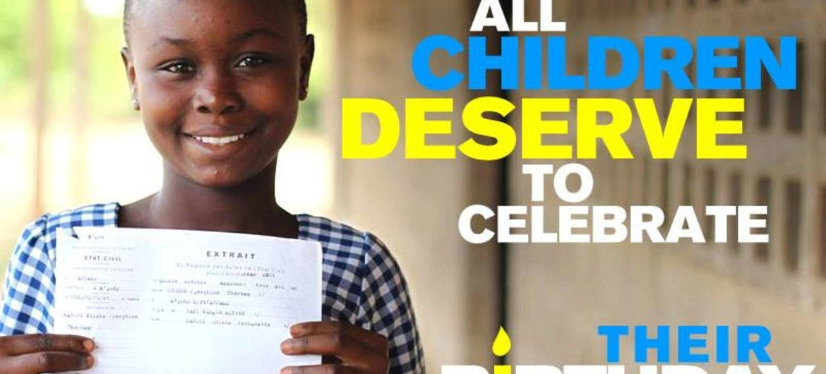10-year old Kangbe holds her birth certificate at her primary school in Côte d'Ivoire.