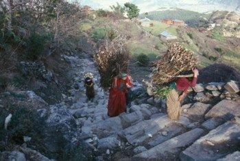 Wanawake wa kijijini nchini Nepal wakiwa wamebeba mzigo wa kuni.