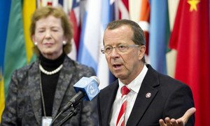 Special Representative Martin Kobler (right) and Special Envoy Mary Robinson brief the press.
