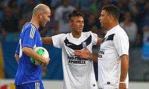 Zidane, Neymar et Ronaldo lors du 10ème Match contre la pauvreté.