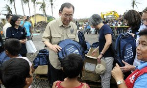 Secretary-General Ban Ki-moon's  visit to Philippines included a stop in Tacloban, where he surveyed the devastation left by Typhoon Haiyan.