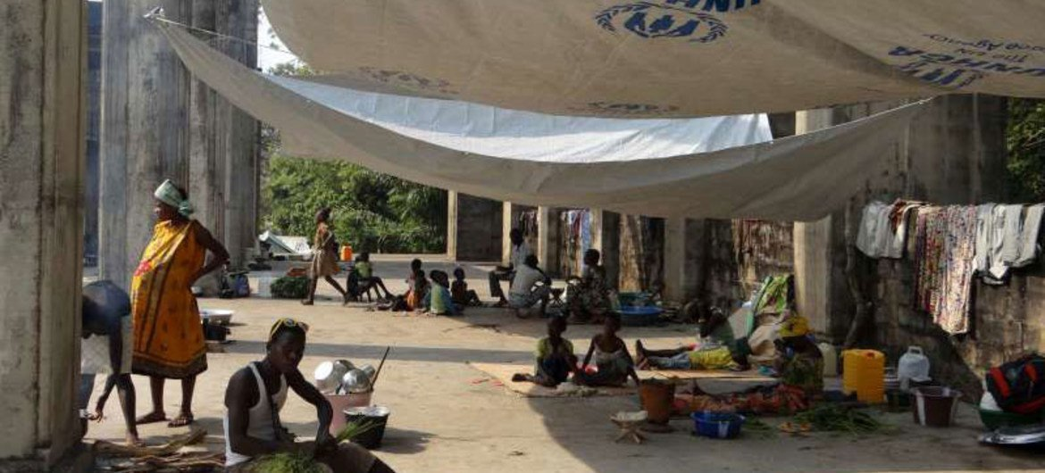 Displaced people in the CAR capital Bangui find refuge in the unfinished church at St. Paul Parish after fleeing clashes.