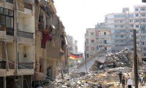 Bomb devastation in southern Beirut suburb of Haret Hreik in August 2006.