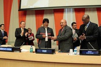 Evo Morales en la ceremonia que dio inicio a la presidencia de Bolivia en el G77 en 2014. Foto de archivo: ONU/Paulo Filgueira