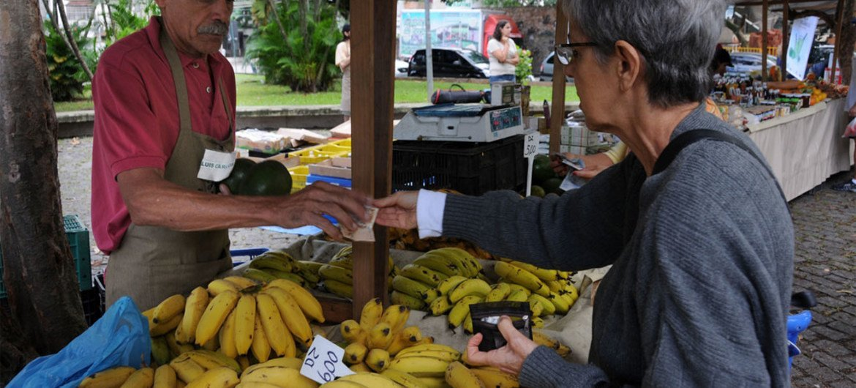 Un marchand de bananes à Rio de Janeiro, au Brésil. Photo FAO/Giuseppe Bizzarri
