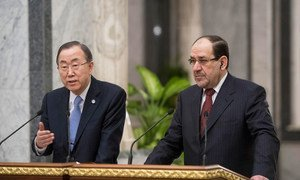 Secretary-General Ban Ki-moon (left) and Prime Minister Nouri Kamel al-Maliki brief the press in Baghdad.