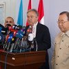 Secretary-General Ban Ki-moon (right) joins High Commissioner for Refugees António Guterres as he briefs the media during a joint press conference at the Kawrgosik Refugee Camp, Iraq.