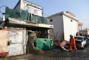 Le restaurant à Kaboul qui a été la cible d'un attentat le 17 janvier 2014. Photo MANUA/Haroon Sabawoon