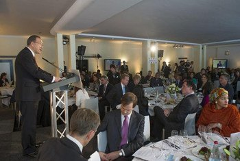 Secretary-General Ban Ki-moon addressing a lunch of his MDG Advocacy Group in Davos, Switzerland.