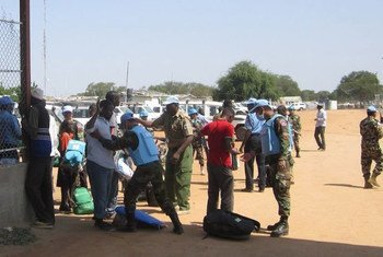 UN Military Police checking for weapons from people seeking shelter in the UNMISS compound in Bor, Jonglei state, South Sudan.