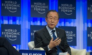 Secretary-General Ban Ki-moon addresses the 2014 World Economic Forum at a session on  Climate, Growth and Development.