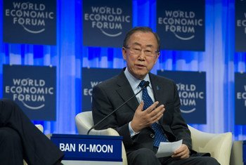 Ban Ki-moon en el Foro Económico Mundial en Davos.  Foto: