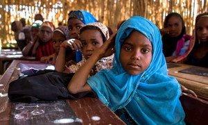 Des fillettes dans une école dans la région de Diffa, au Niger, où plus de la moitié des écoliers sont des Nigérians déplacés.