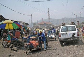 Une rue à Goma, ville d'environ deux millions d'habitants et capitale de la province du Nord Kivu, en République démocratique du Congo.