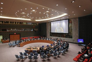 La Représentante spéciale du Secrétaire général pour la Côte d'Ivoire, Aïchatou Mindaoudou, s'exprime par vidéo-conférence au Conseil de sécurité.