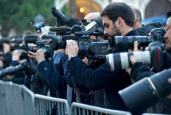 Journalists wait for the arrival of official delegations at the Geneva II Conference on Syria, in Montreux, Switzerland. UN Photo/Violaine Martin