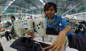 A garment industry worker sews garter to a skirt in Phnom Penh, Cambodia. Photo: World Bank/Chhor Sokunthea