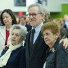 Academy award winning filmmaker Steven Spielberg (centre), stands with Holocaust survivors Fira Stukelman (left) and Rena Finder,at the International Day of Commemoration in Memory of the Victims of the Holocaust.