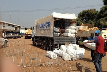 Distribution of food and household items at the IDP site surrounding the airport in Bangui, Central African Republic.