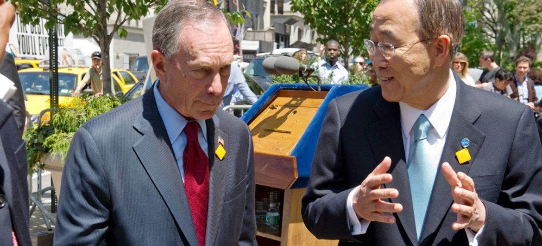 Secretary-General Ban Ki-moon (right) and former New York City Mayor Michael Bloomberg.