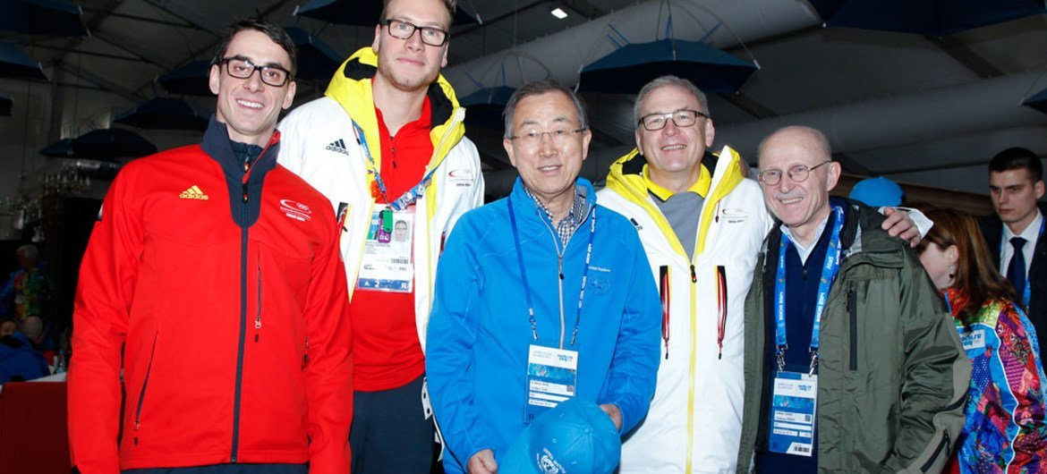 Secretary-General Ban Ki-moon (centre) visits the Olympic village in Sochi, Russian Federation, and meets with athletes and officials of the 2014 Winter Olympic Games.