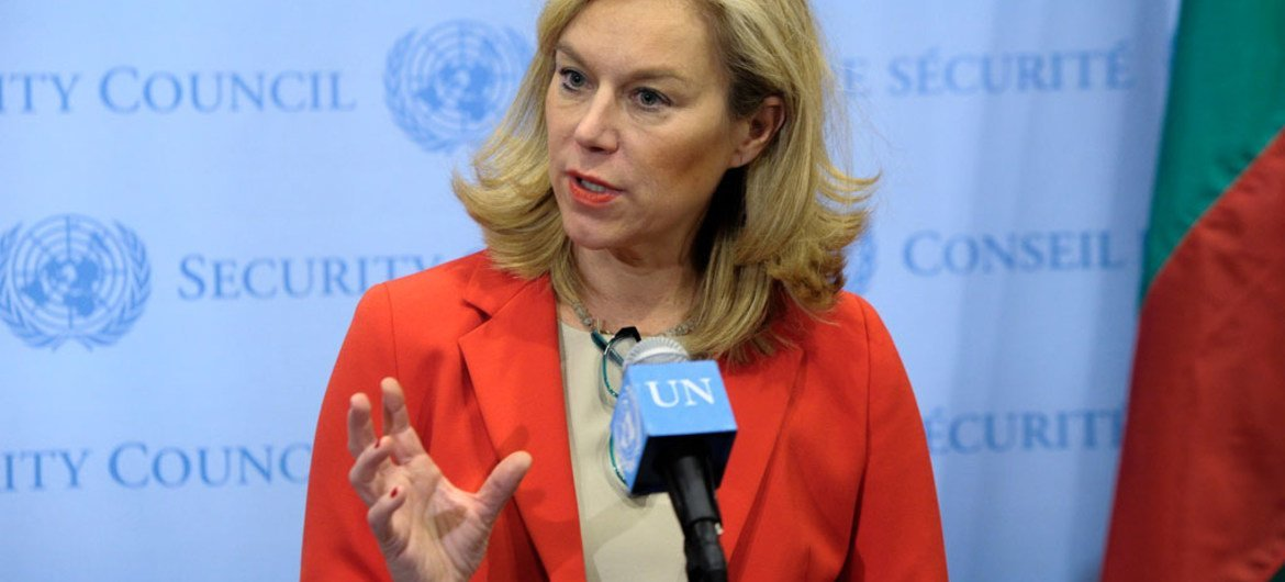 Special Coordinator of the Joint Mission of the OPCW and the UN Sigrid Kaag speaks to journalists following a closed-door meeting of the Security Council.