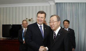 Secretary-General Ban Ki-moon (right) meets with President Victor Yanukovych of Ukraine at the Olympic Games in Sochi, Russian Federation.