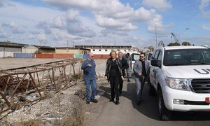 Special Coordinator of the Joint Mission of the OPCW and the UN Sigrid Kaag (second left) inspecting preparations for the elemination of chemical weapons at the Syrian Port of Latakia in December 2013.