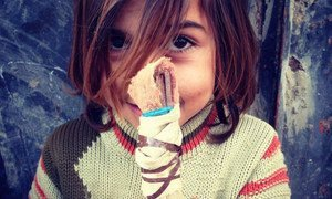 Meet Aya, a young Syrian refugee who carries this homemade doll with her everywhere she goes. Hundreds of Syrian children like Aya become refugees every day.