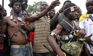 Des combattants anti-Balaka à Bangui en République centrafricaine.