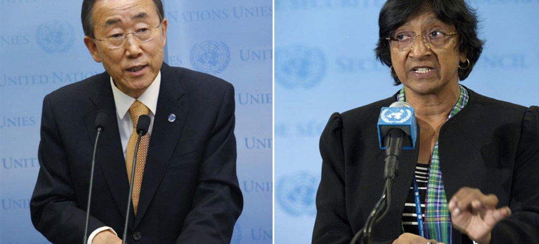 Secretary-General Ban Ki-moon and UN High Commissioner for Human Rights Navi Pillay.