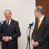 Secretary-General Ban Ki-moon (right) and his Special Envoy for Cities and Climate Change Michael Bloomberg speak to the press.