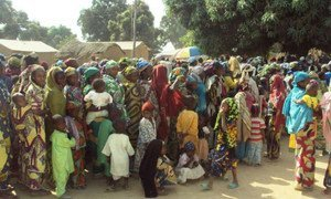 Refugees from Central African Republic gather at a site in eastern Cameroon.