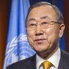 Secretary General Ban Ki-moon records a video message for the people of the Central African Republic (CAR).