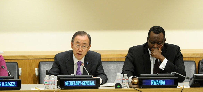 "Secretary-General Ban Ki-moon (left) speaks at the launch of ""Kwibuka20,"" a series of observances marking 20 years since the genocide in Rwanda. At his side is Ambassador Eugène-Richard Gasana of Rwanda."