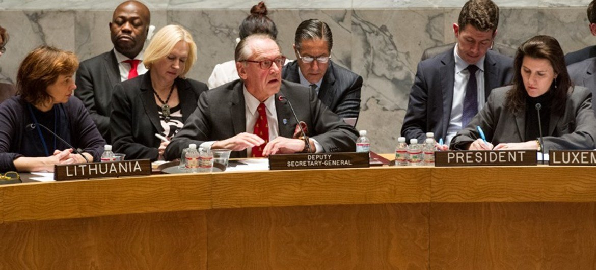 Deputy Secretary-General Jan Eliasson briefs Security Council on situation in Ukraine on 1 March 2014.