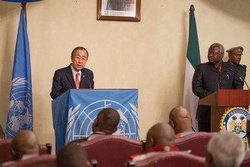 Secretary-General Ban Ki-moon (left) addresses a joint press conference with President Ernest Bai Koroma of Sierra Leone.