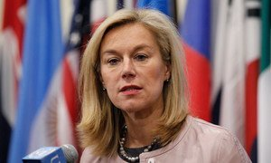 Special Coordinator of the Joint Mission of the OPCW and the UN to eliminate Syria's chemical weapons programme, Sigrid Kaag, speaks to journalists following a closed-door meeting of the Security Council.
