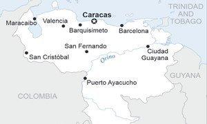 Carte du Venezuela. Source : OCHA/ReliefWeb