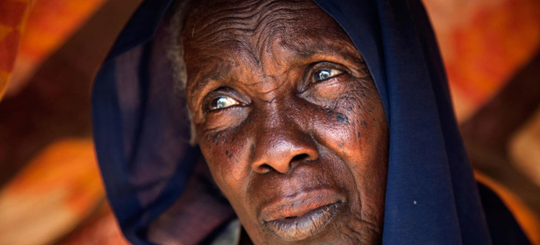 Fatima Abdala, from Barakutili, South Darfur, rests in her small shelter in the Kalma IDP camp near Nyala, South Darfur.