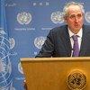 Spokesperson for Secretary-General Ban Ki-moon, Stéphane Dujarric briefs the press.